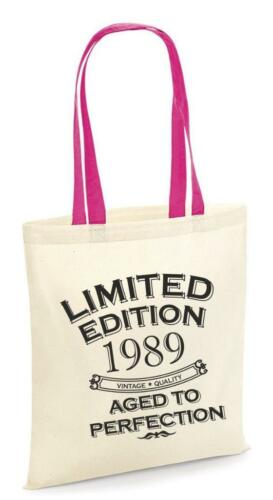 30th Party Cotton Tote Bag Birthday Presents Gifts Year 1989 Shopper Shopping