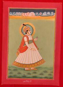 Hand-Painted-Rajasthani-Maharajah-King-Portrait-Miniature-Painting-India-Mewar