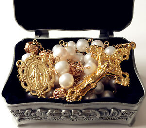 AAA-10MM-Real-Pearl-BEADS-CATHOLIC-GOLD-ROSARY-CROSS-GIFT-NECKLACE-Supper-BOX