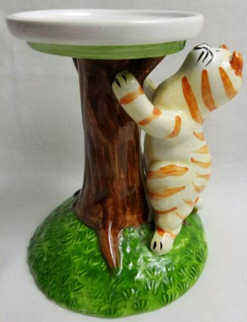 Orange Tiger Stripe Tabby Kitty Cat Tealight Candle Lamp Holder Ceramic 4.5