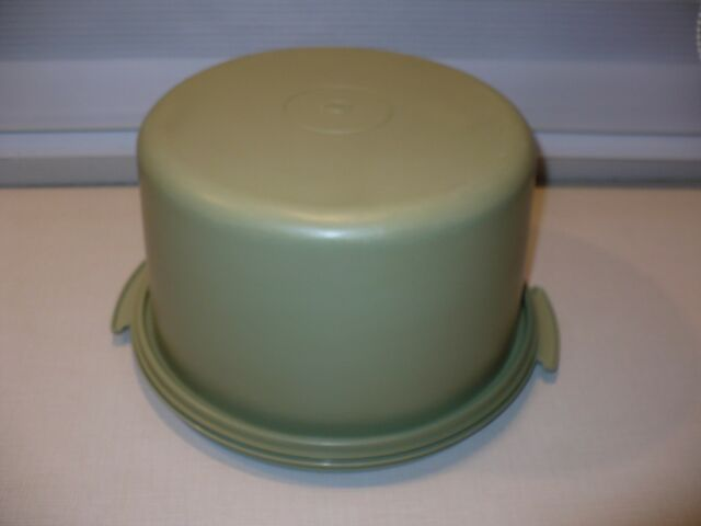 Vintage Tupperware Avocado Green Starburst Cake Carrier Plate Container