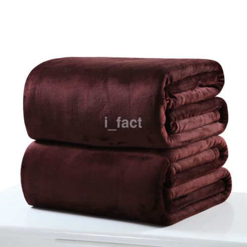 1pc Super Soft Warm Solid Warm Micro Plush Fleece Blanket Throw Sofa Bedding US