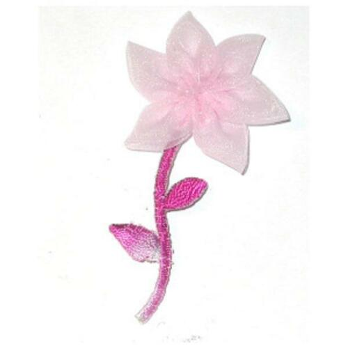 Pink Organdy Stem Flower Iron On Appliques x 3