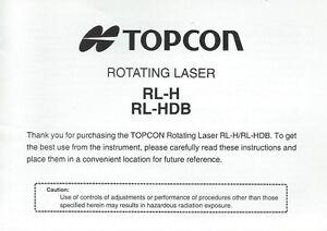 New Topcon Rotating Level RL-H, RL-HDB Instruction Manual