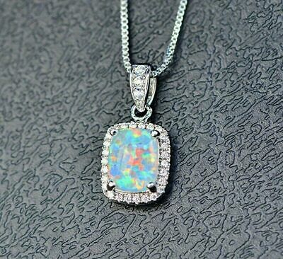 """10k Yellow Gold Oval Opal And Diamond Teardrop Pendant with 18/"""" Chain"""