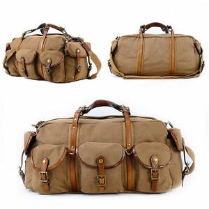 2d5430611d Image is loading Vintage-Canvas-Duffle-Bags-Weekender-Mens-Womens-Travel-