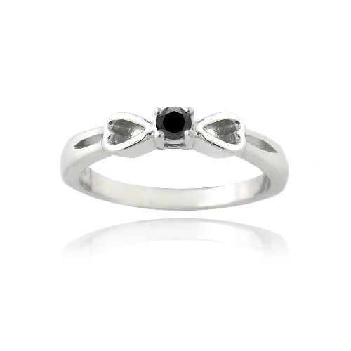 925 Silver 1/10ct Black Diamond & Heart Promise Ring
