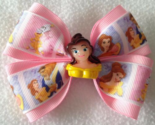 "Girls Hair Bow 4/"" Wide Princess Belle Pink Grosgrain Ribbon Alligator Clip"