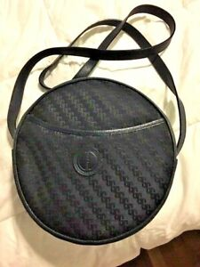 f7b68c5f950 Vintage GUCCI Navy Canvas   Leather Round Canteen Crossbody Shoulder ...