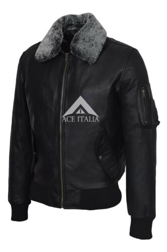 Men/'s Army Bomber Aviatore Nero collo in pelliccia Skipper COW Hide LEATHER JACKET 2836