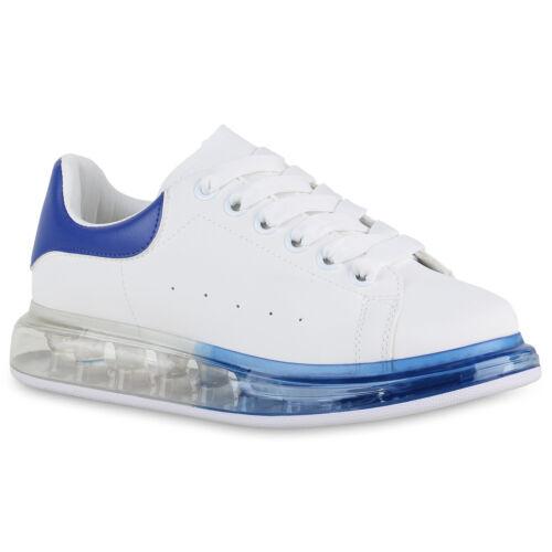 Damen Plateau Sneaker Transparente Turnschuhe Freizeit Schnürer 898879 Top