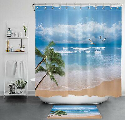 Tropical Ocean Beach Palm Tree Seagull, Palm Tree Shower Curtains Bath Accessory Sets