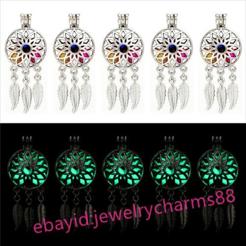 Bulk 10pcs Silver Dream Catcher Flower Glow In The Dark GREEN Beads Locket G679