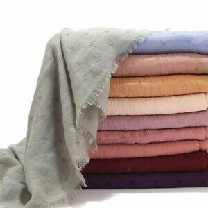 Women-Cotton-Linen-Tassels-Scarf-Shawl-Dotted-Large-Muslim-Hijab-Headscarf-Sheer