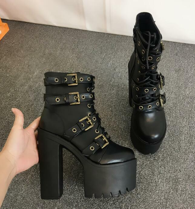 Womens Punk Belt Buckles Chunky High Heels Platform 15cm Roman shoes Zip mgic