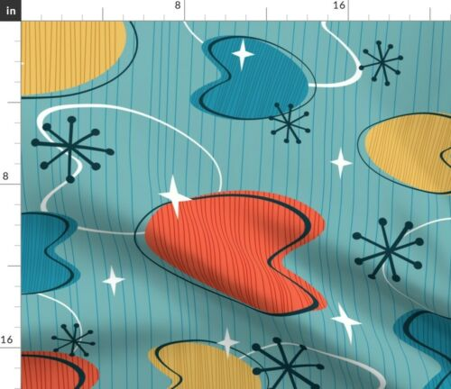 Retro Atomic Midcentury Modern Abstract Fabric Printed by Spoonflower BTY