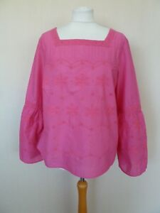 71456b6f3aa Lovely M&S Pink Floral Embroidered Bell Sleeve Cotton Tunic Top Size ...