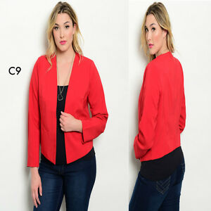 Size C9 Giubbotti Office Work Womens Giacche Giacca Plus aperta formale 12 Red 14 Party wwgrqctxF6