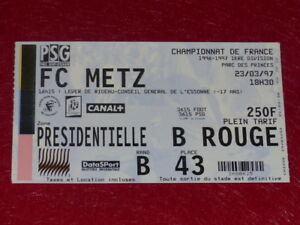 COLLECTION-SPORT-FOOTBALL-TICKET-PSG-FC-METZ-23-MARS-1997-Champ-France