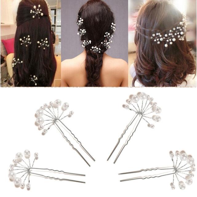 Crystal Diamante Pearl Flower Bridal Wedding Prom Hair Pins Clips JC