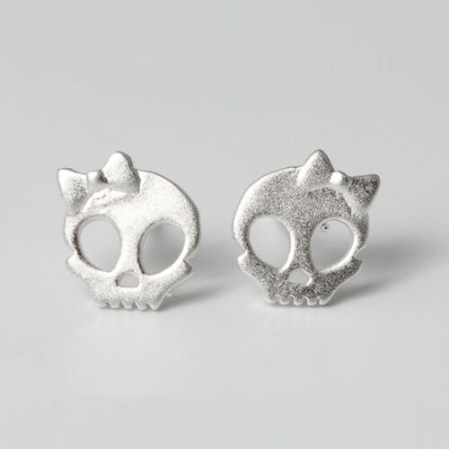 Solid 925 Sterling Silver Cute Sugar Bow Skull Skeleton Post Studs Earrings