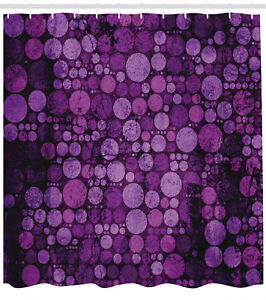 Image Is Loading Purple Shower Curtain Vintage Grunge Circles Print For