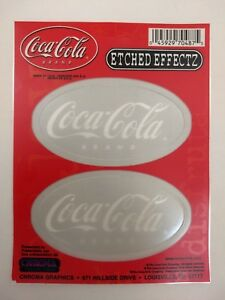Set-of-2-Coca-Cola-Stickers-w-Etched-Glass-Effect-Translucent-Coke-Decals