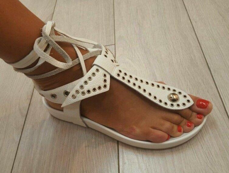 Celebrity Lujo Cuero Gladiador blancoo Bow Tie Up Sandalias De Plataforma Boho Roma