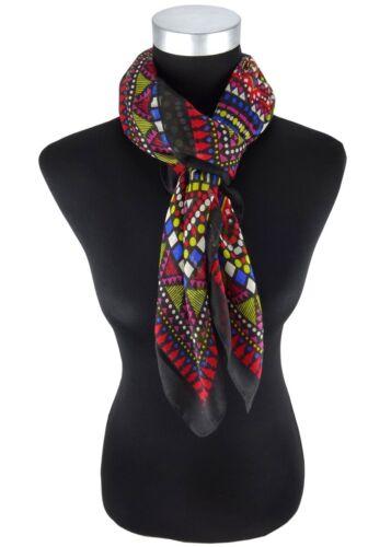 100 x 100 cm Halstuch mehrfarbig rot pink blau grau gelb schwarz Aztekenmuster