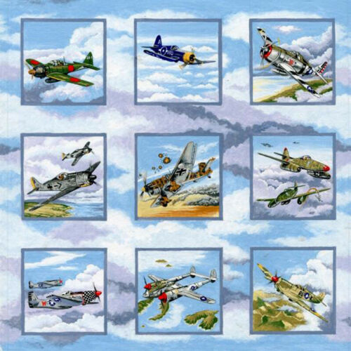 Nutex WARBIRDS Squares WW11 vintage fighter aircraft bomber plane Fabric PANEL