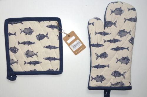 Tranquillo Topflappen oder Ofenhandschuh Landhaus Fisch blau creme Untersetzer