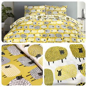 Fusion-DOTTY-SHEEP-Ochre-Yellow-Easy-Care-Duvet-Cover-Set