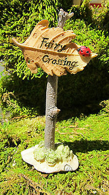 Fairy Crossing Sign on a Leaf Fantasy Resin Figurine