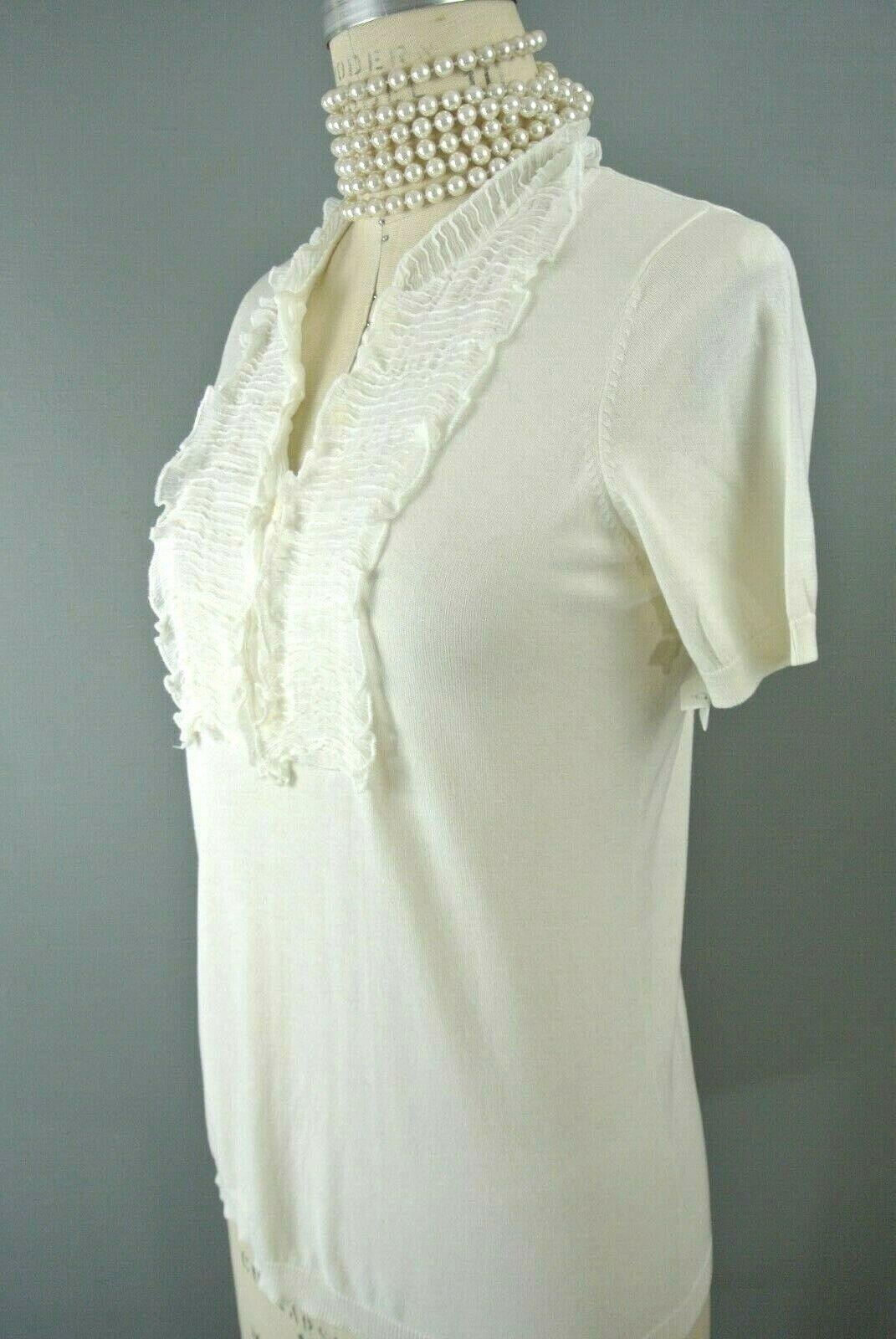 BCBG MAXAZRIA Silk/Cotton Blouse M Ivory Ruffle S… - image 3