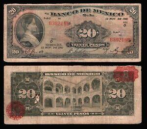 Mexico-20-Pesos-Corregidora-12-NOV-1941-Series-O-P-40d-Very-Good-6302166