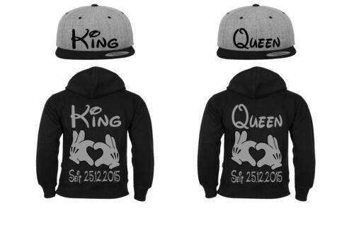 CAP /& hoodie 4er Set KING QUEEN motivo partner look coppiette XS 5xl