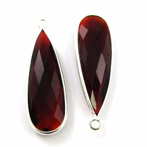 Bezel Gemstone Sterling Silver 2 Pcs Birthstone Elongated Teardrop Charm