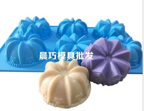 6-cavidad corona Molde de silicona molde jabon Molde De Torta flexible para Dulces y Chocolates
