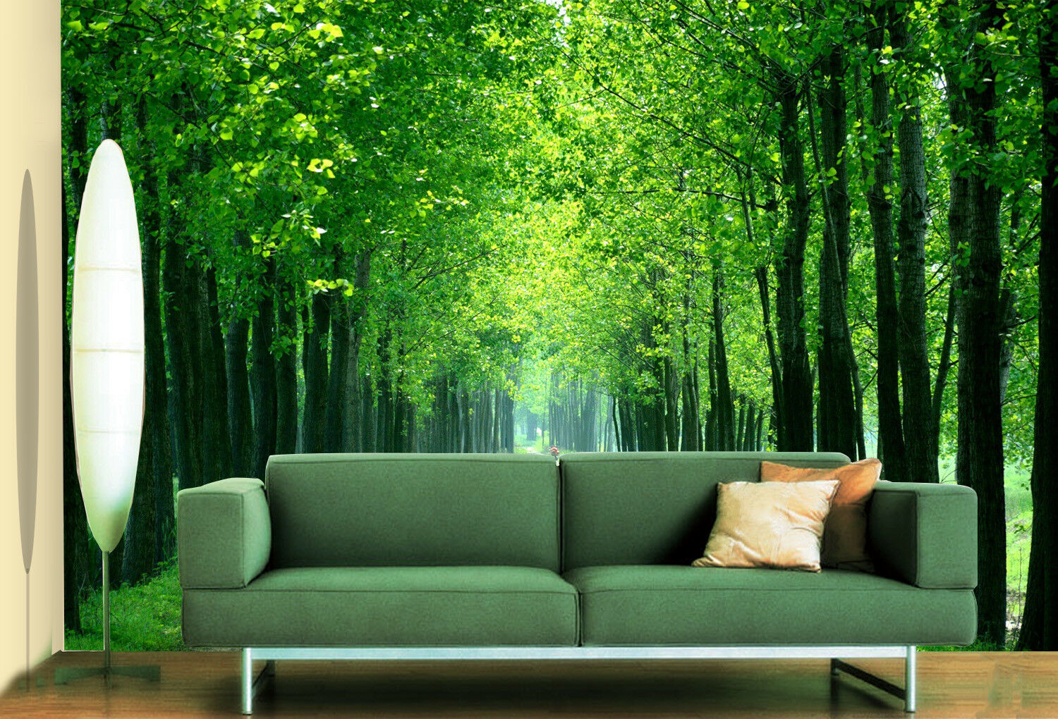 3D Green Tree Avenue 8 Wall Paper Murals Wall Print Wall Wallpaper Mural AU Kyra