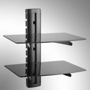 Image Is Loading Double 2 Floating Gl Shelves Wall Mount Bracket