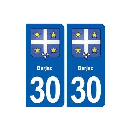 30 Barjac blason ville autocollant plaque stickers -  Angles : arrondis