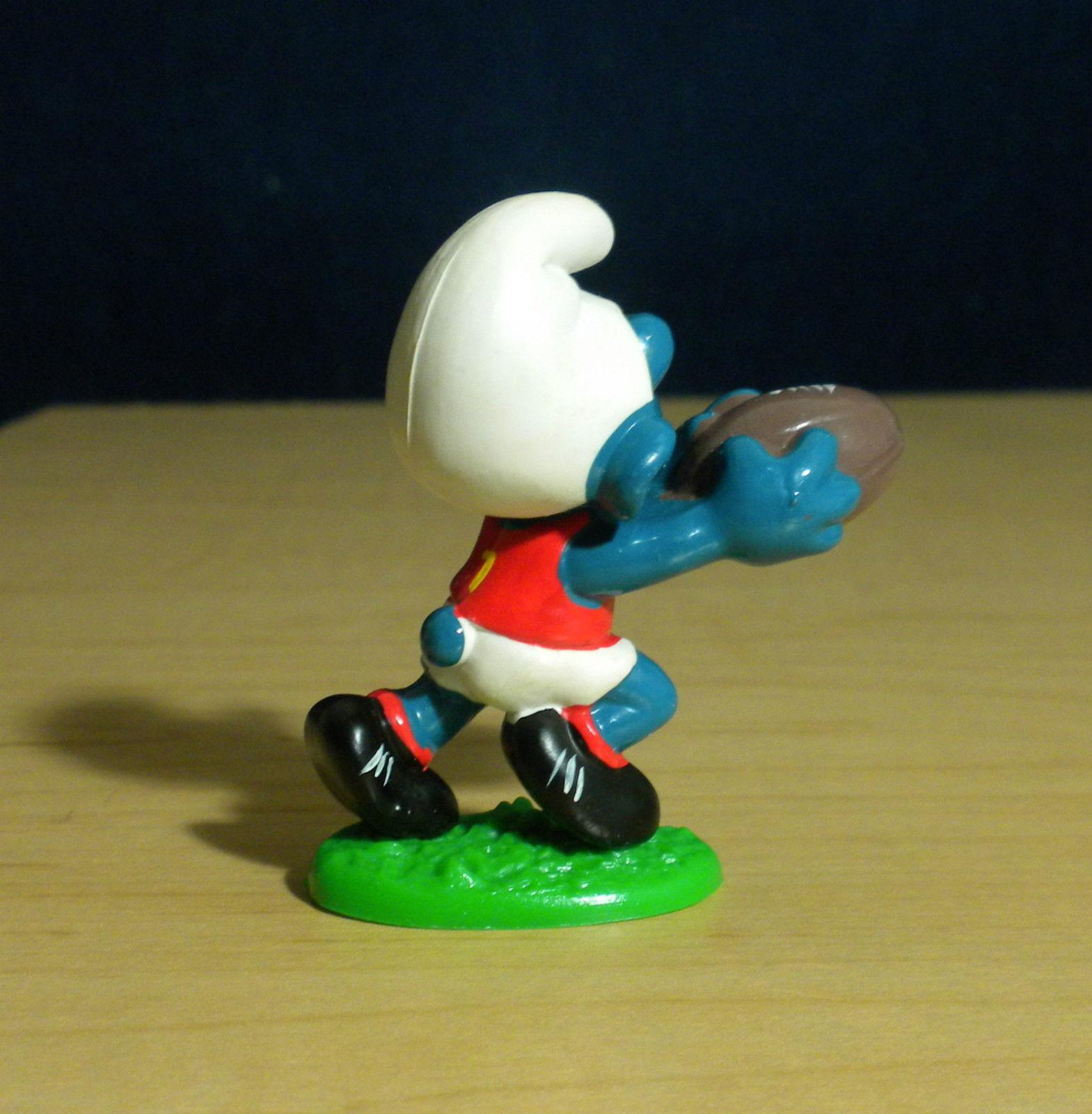 Smurfs Australian Football Smurf 20150 Rare Blue Shirt Vintage Figure Schlumpf