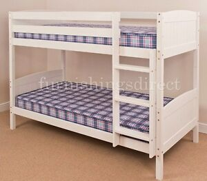 Classic 2ft6 Shorty White Bunk Bed 2 X Mattresses Splits Into 2