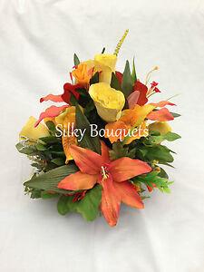 Grave Pot Artificial Silk Flower Terracotta All Round Memorial Arrangement Ebay