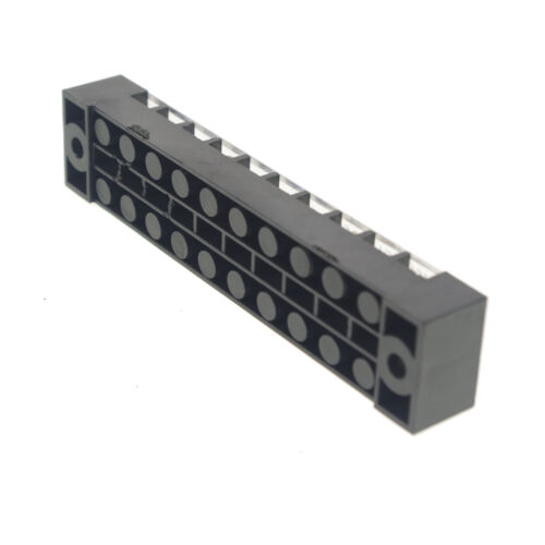 1 x 10 Position//Pole 20 Hole Screw Terminal Block Covered Barrier Strip 600V 15A