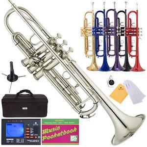 Mendini Bb Trumpet Gold Silver Black Blue Purple Red  Tuner Case  ...