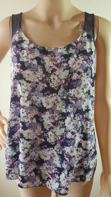 FOREVER NEW Ladies Purple Floral Lace Sleeveless Top Size: 10 EUC