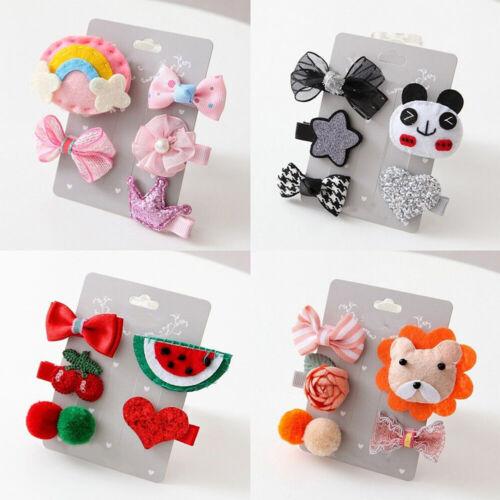 5pcs Cartoon Animal Motifs Bowknot Hairpin Barrettes Kids Girls Party Headwear