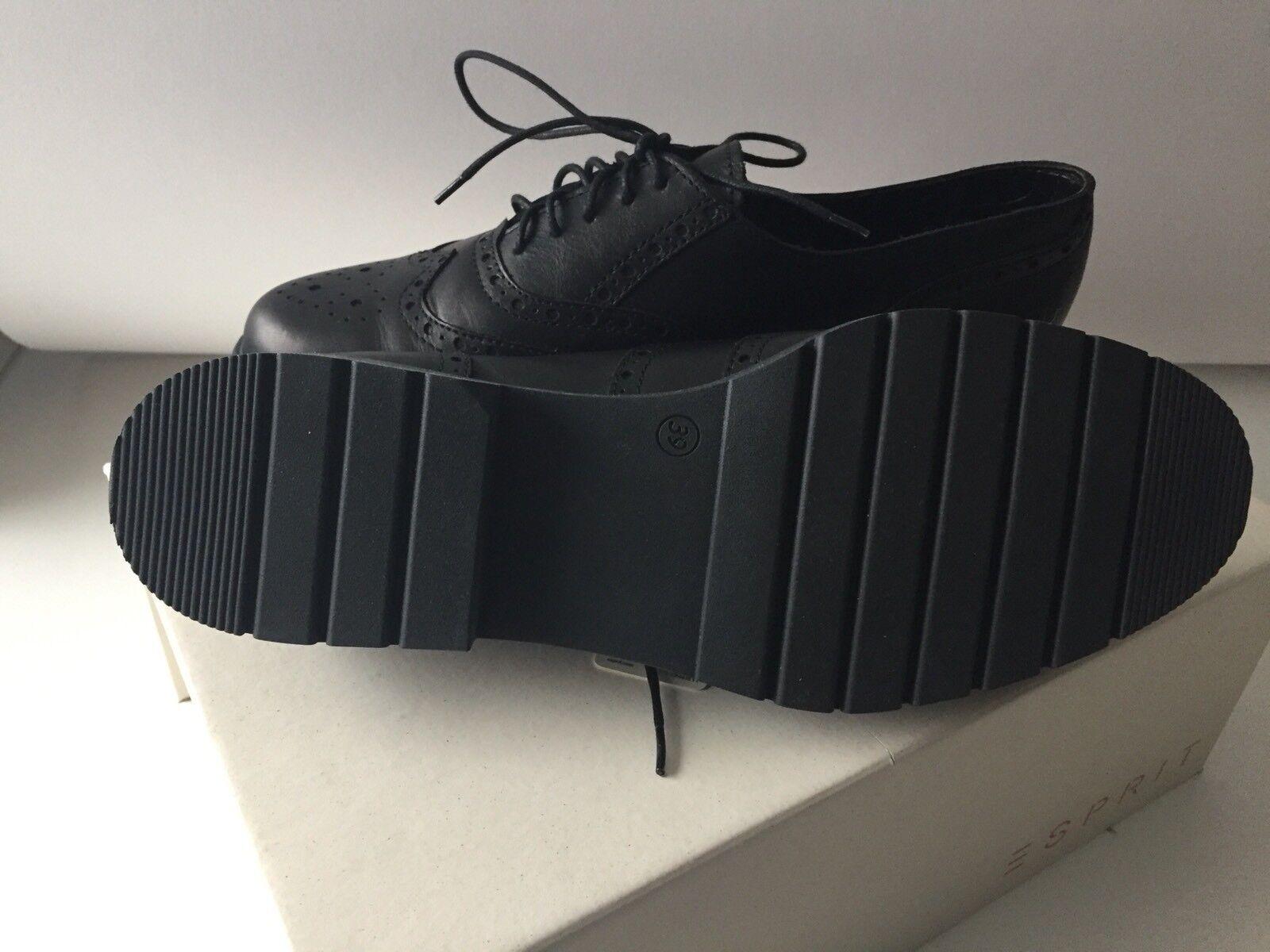 ESPRIT Leder Schuhe Schnüren Budapester schwarz Größe 39 NEU OVP Budapester Schnüren Muster 036ea8
