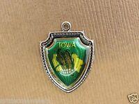 Vintage silver IOWA STATE MAP CORN TRAVEL SHIELD SOUVENIR charm DARK GREEN #2 #S